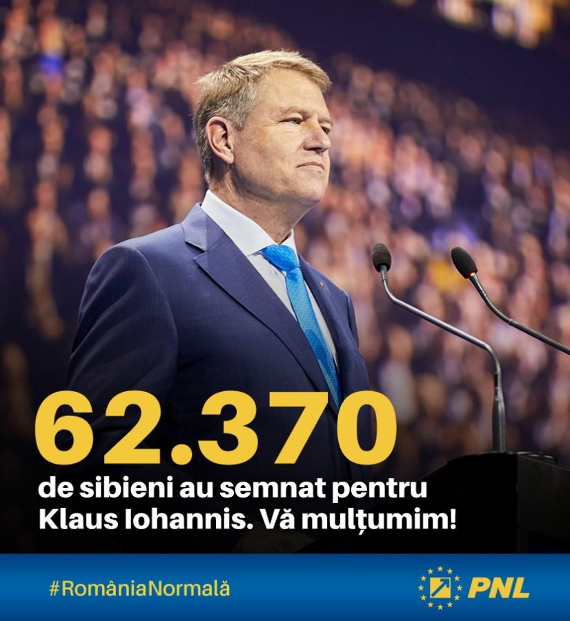62.370 de sibieni au semnat pentru Klaus Iohannis