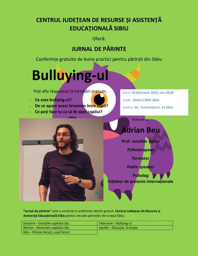 Conferință gratuită pentru părinți pe tema bullying-ului