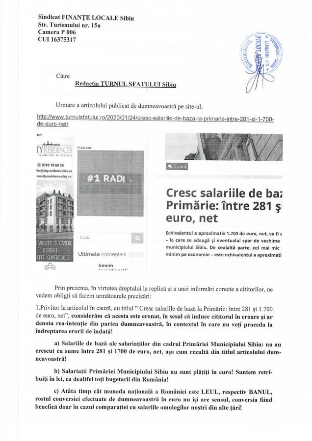 """Drept la replică al funcționarilor din Primărie: """"salariații nu sunt plătiți în euro"""""""
