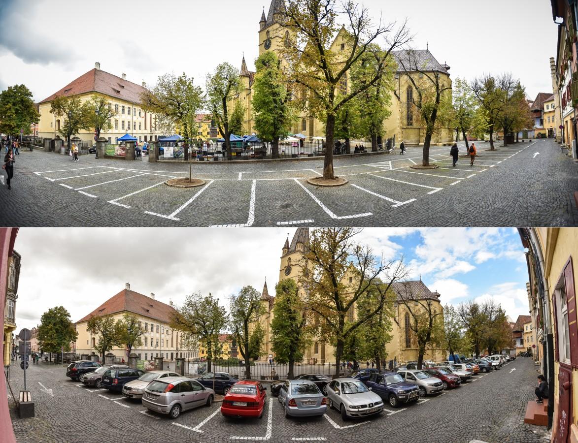 """FOTO Aplauze pentru Ziua fără mașini, în centrul Sibiului. """"Nu în fiecare zi, dar măcar la sfârșit de săptămână"""""""