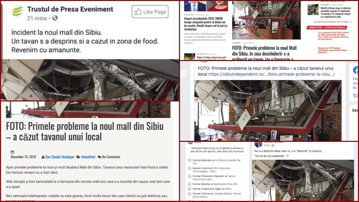 Fake news produs în Sibiu: un tavan prăbușit la noul mall