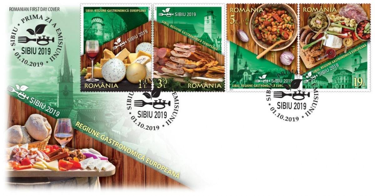 Sibiu, Regiune Gastronomică Europeană – emisiune de mărci poștale lansată de Romfilatelia