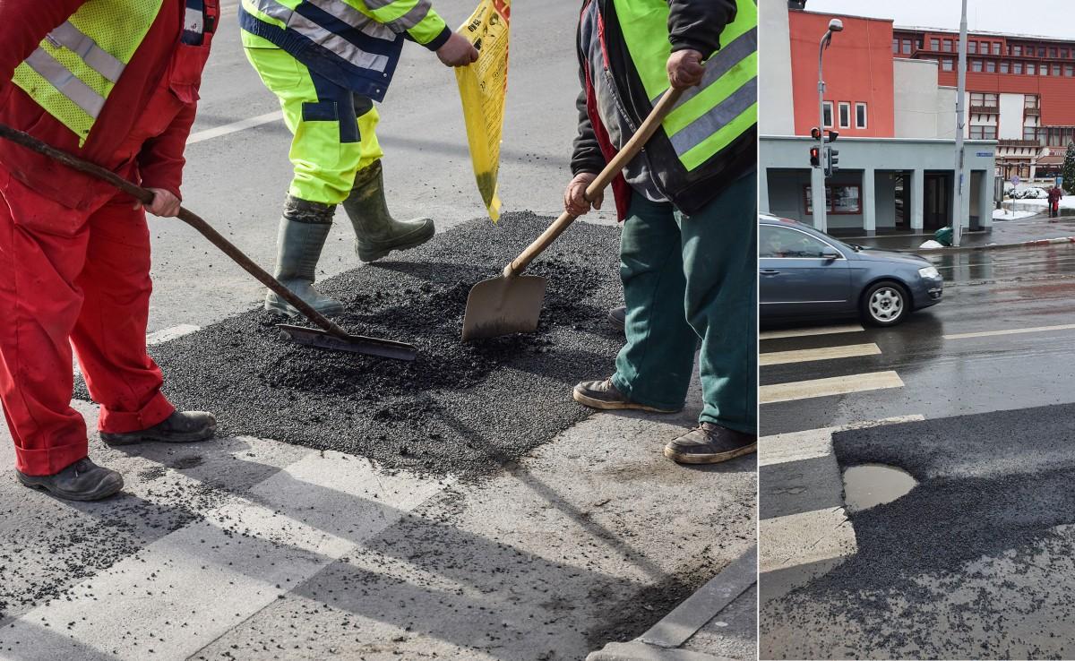 FOTO - Cât rezistă o groapă asfaltată în centrul Sibiului?