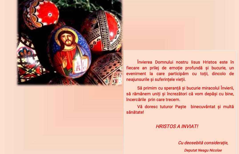 Mesajul de Paști al deputatului Nicolae Neagu