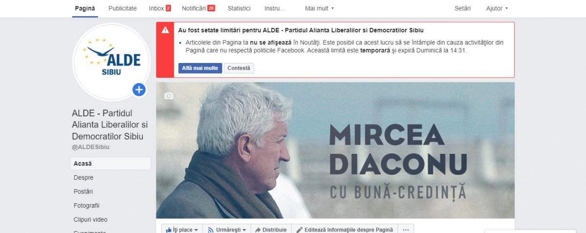 ALDE Sibiu a dat în judecată Facebook