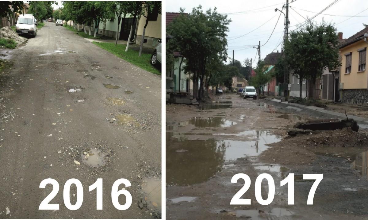 """Studiu de caz. După doi ani de modernizare, o stradă arată mai rău ca la început. """"Trec săptămâni în care nimic «nu mișc㻓"""