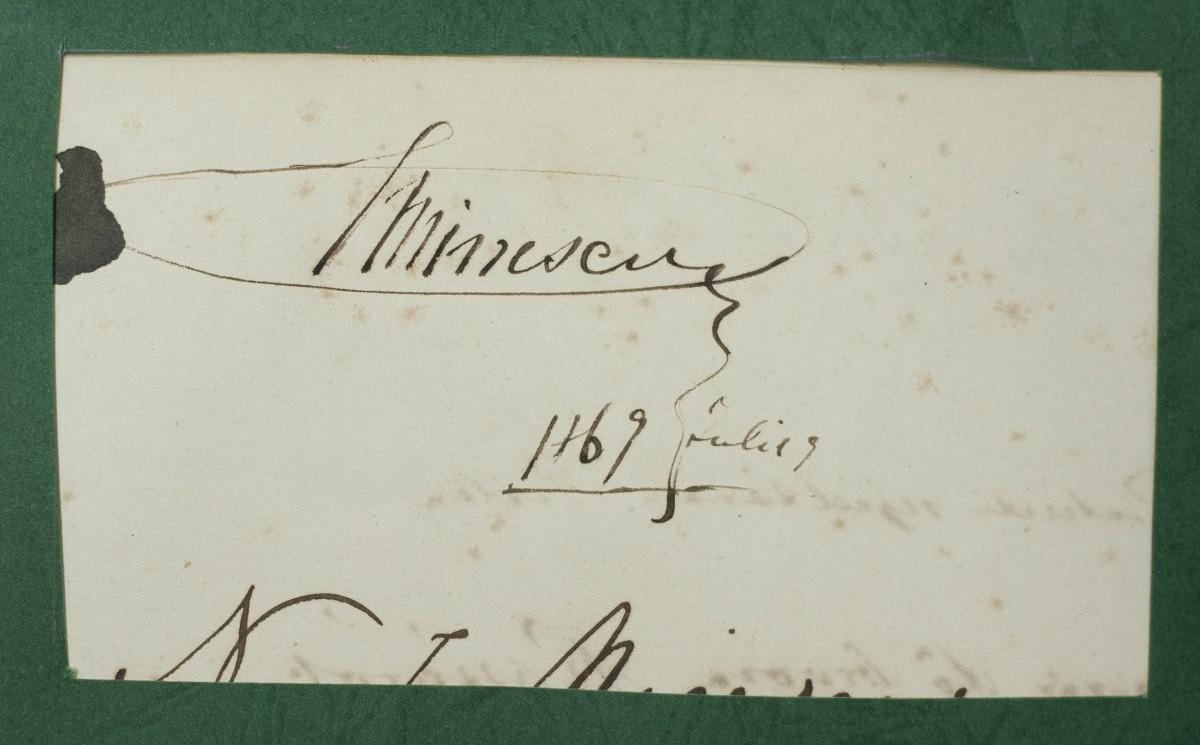Semnătura poetului Mihai Eminescu expusă la Muzeul de Istorie Naturală