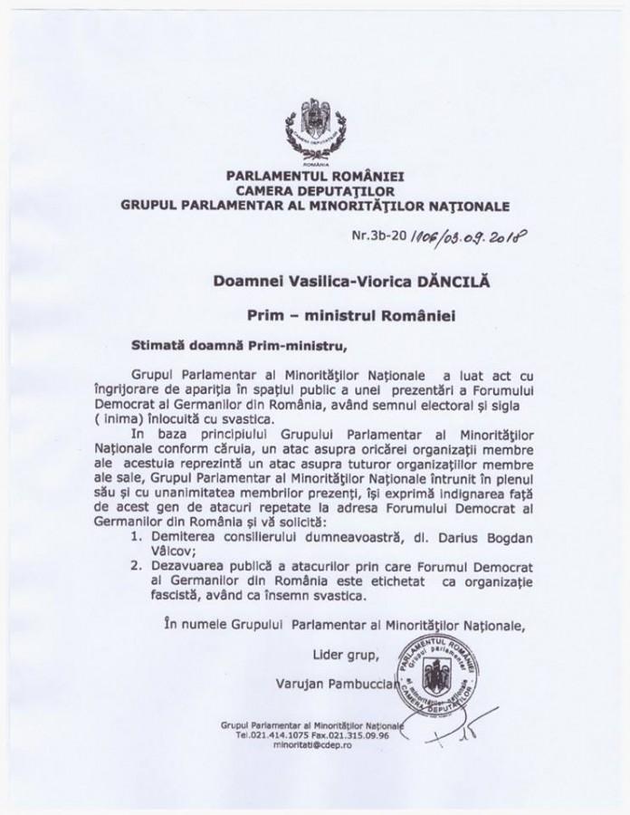 Grupul parlamentar al minorităţilor naţionale îi cere premieruluidemiterea lui Darius Vâlcov