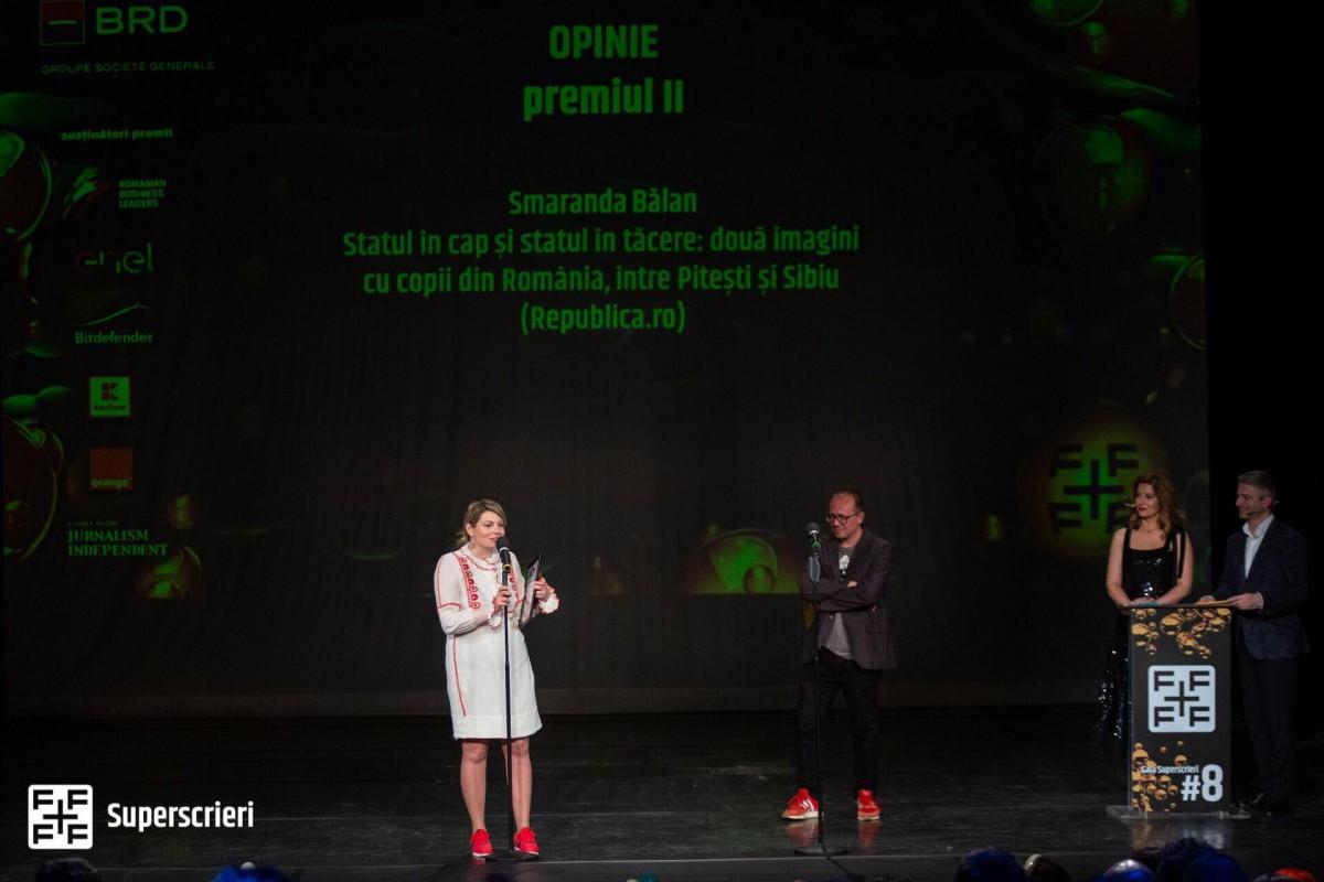 """Gala Superscrieri a dat două premii la Sibiu. """"M-am întors cătrejurnalism cu ocazia protestelor Vă Vedem"""""""