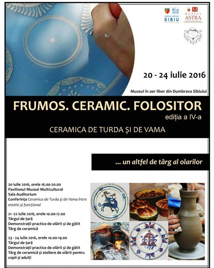 """""""Frumos. Ceramic. Folositor. Ceramica de Turda și de Vama"""", un altfel de târg al olarilor în Muzeul Astra"""