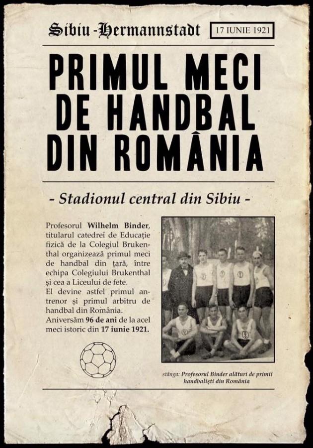 Primul meci de handbal din România s-a jucat la Sibiu. Acum fix 97 de ani