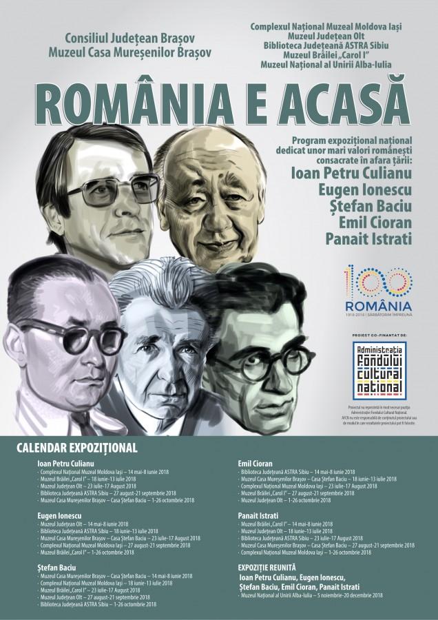 România e acasă - Program expozițional național dedicat unor mari valori românești consacrate în afara țării: Ioan Petru Culianu, Eugen Ionescu, Ṣtefan Baciu, Emil Cioran, Panait Istrati (CP)