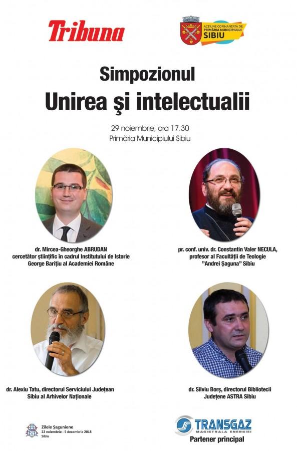 """Simpozionul """"Unirea și intelectualii"""" și vernisajul expoziției Tribuna, în 29 noiembrie, la Primăria Sibiu (CP)"""