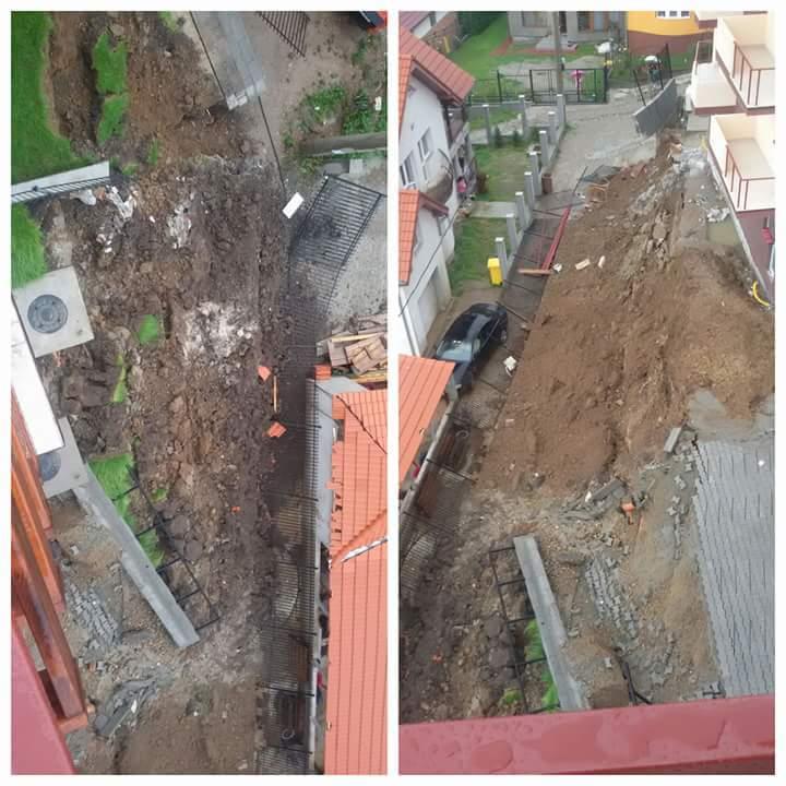 ACTUALIZARE. Alunecarea de teren surprinsă parțial de camerele de supraveghere. Zidul de sprijin era ridicat fără autorizație |VIDEO