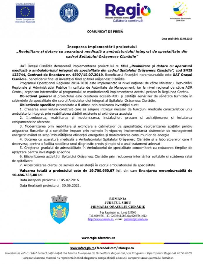 """Începerea implementării proiectului """"Reabilitare și dotare cu aparatură medicală a ambulatoriului integrat de specialitate din cadrul Spitalului Orășenesc Cisnădie"""""""