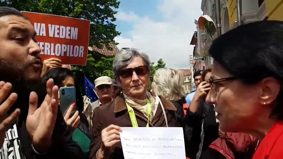 """VIDEO Ecaterina Andronescu, printre protestatarii sibieni.""""Ce părere aveți că în România anului 2019 sunt copii care mor înecați în rahat?"""""""