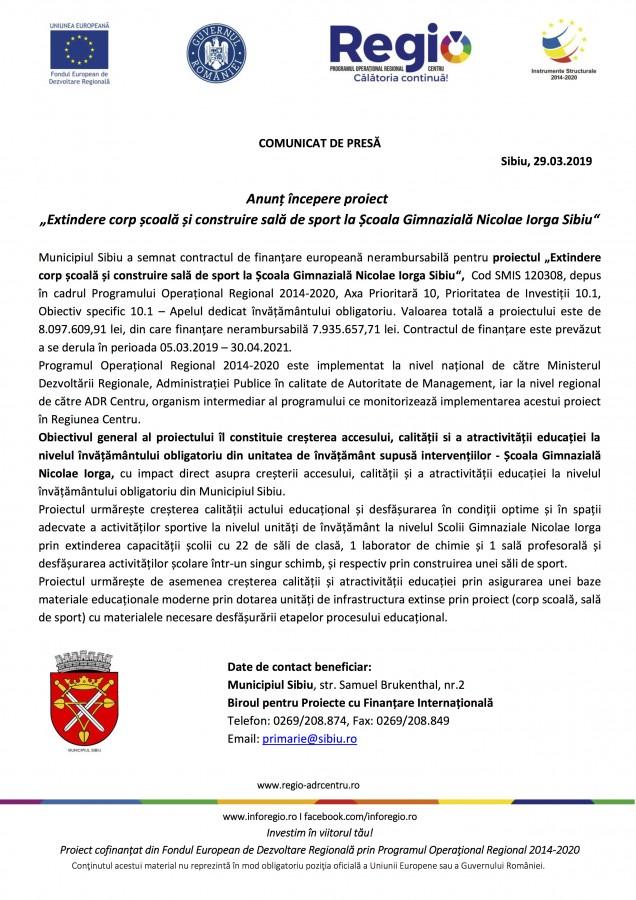 """Anunț începere proiect """"Extindere corp școală și construire sală de sport la Școala Gimnazială Nicolae Iorga Sibiu"""""""