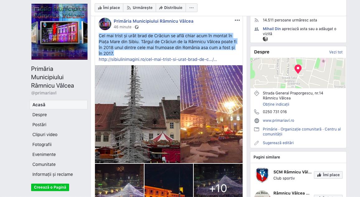 Primăria Rm. Vâlcea regretă postarea critică: Un exces de patriotism local