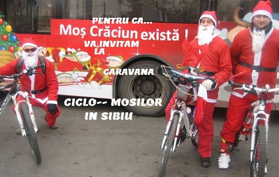 Sibienii, invitați să pedaleze în costum de Moș Crăciun și Crăciunițe