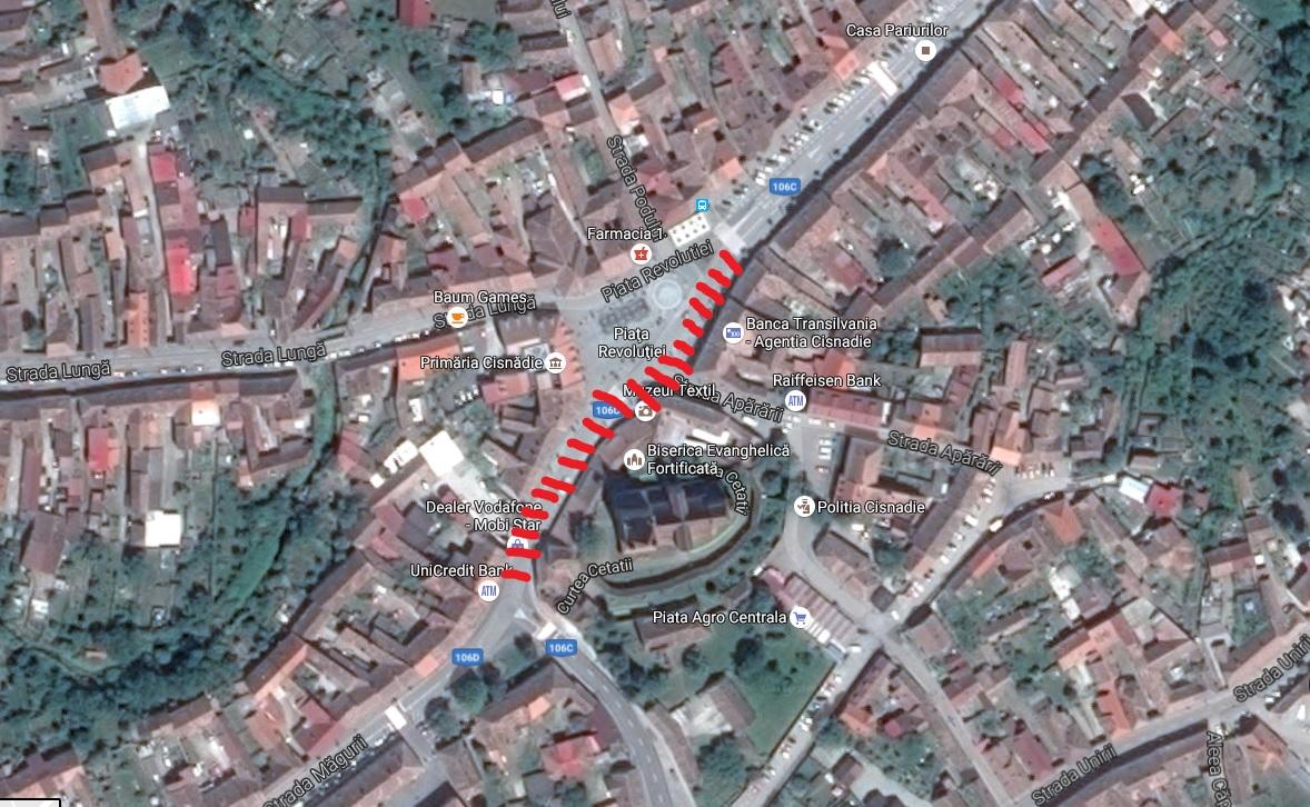 """Centrul Cisnădiei devine zonă pietonală. Șoferii se revoltă și cer drum liber. """"Vreau și două-trei terase acolo"""""""