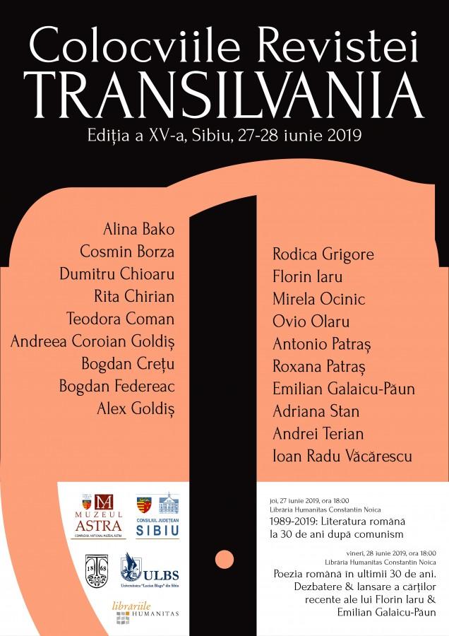 Colocviile revistei Transilvania, ediția a 15-a. 30 de ani de literatură după comunism