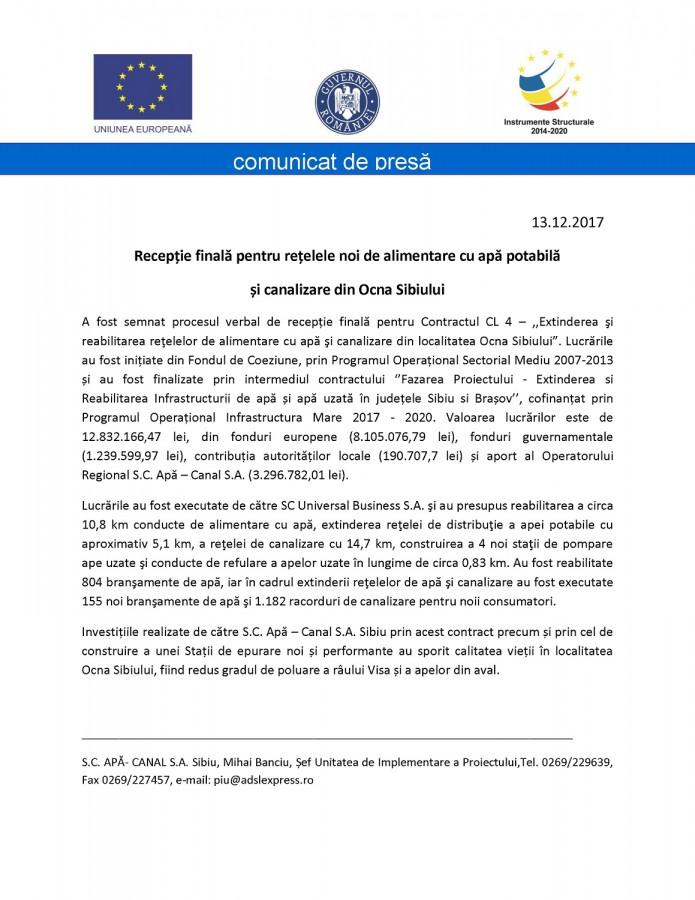 Recepție finală pentru rețelele noi de alimentare cu apă potabilă și canalizare din Ocna Sibiului