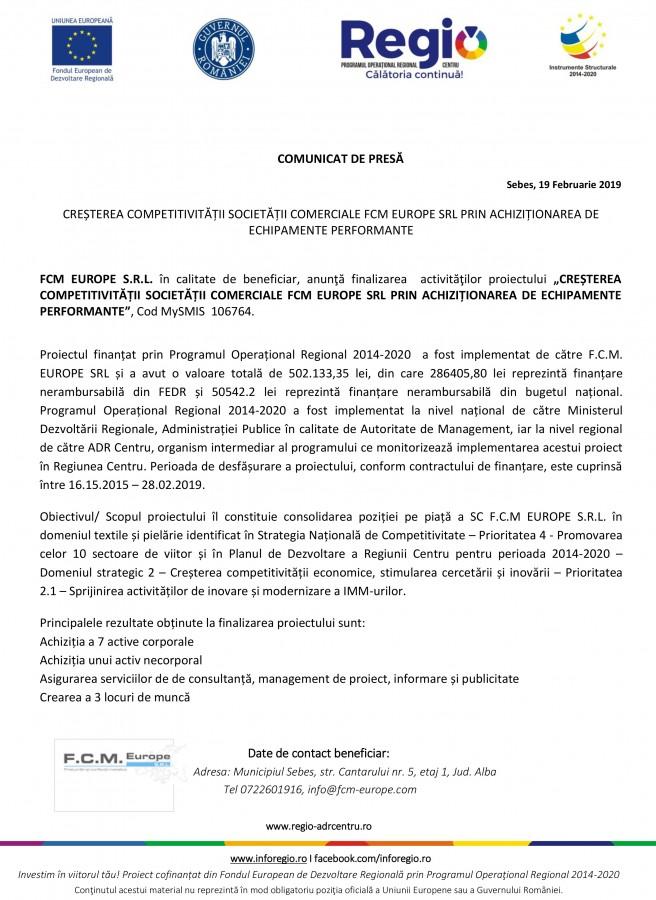 CREȘTEREA COMPETITIVITĂȚII SOCIETĂȚII COMERCIALE FCM EUROPE SRL PRIN ACHIZIȚIONAREA DE ECHIPAMENTE PERFORMANTE (CP)