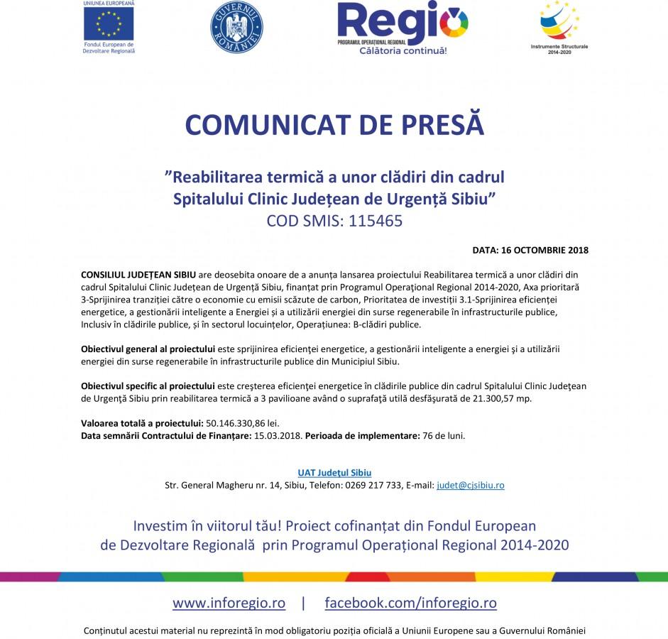"""COMUNICAT DE PRESĂ """"Reabilitarea termică a unor clădiri din cadrul Spitalului Clinic Județean de Urgență Sibiu"""""""