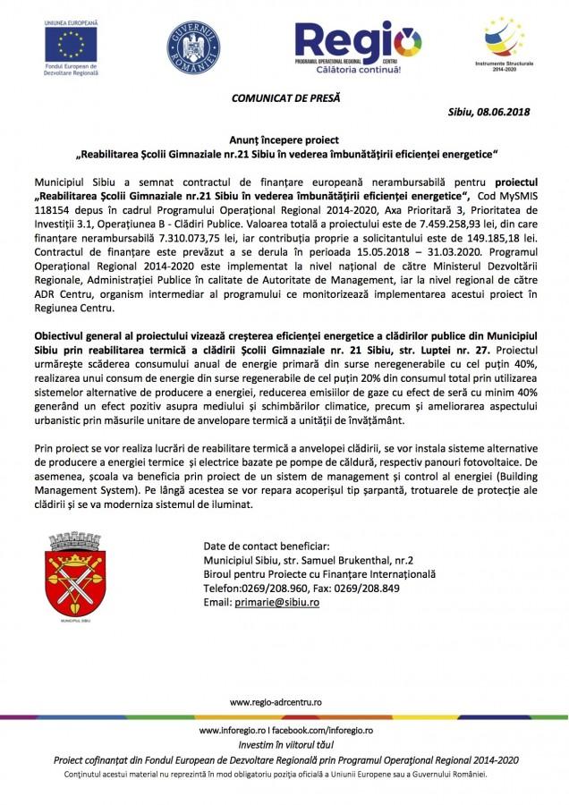 """Anunț începere proiect. """"Reabilitarea Școlii Gimnaziale nr.21 Sibiu în vederea îmbunătățirii eficienței energetice"""" (P)"""