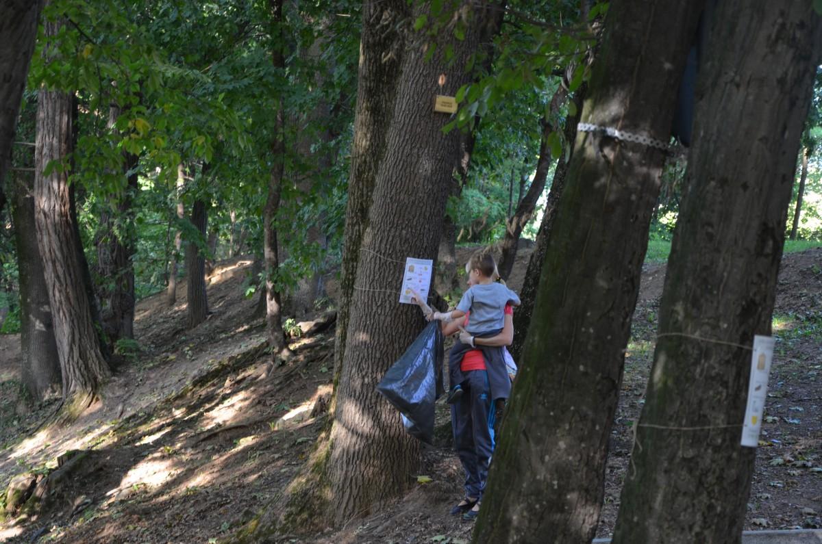 Părinți și copii strâng gunoaiele din parcul Sub Arini. Și actrița Ofelia Popii se alătură