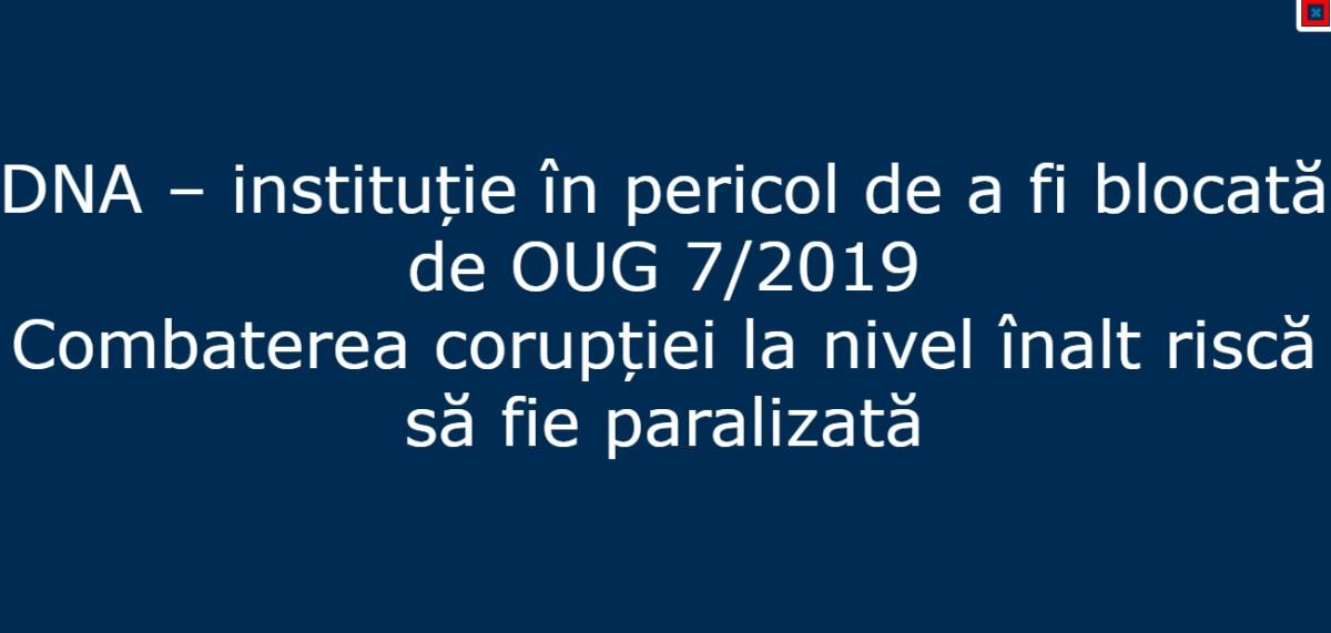 DNA, mesaj de protest pe site: Instituţie în pericol de a fi blocată de OUG pe legile justiţiei