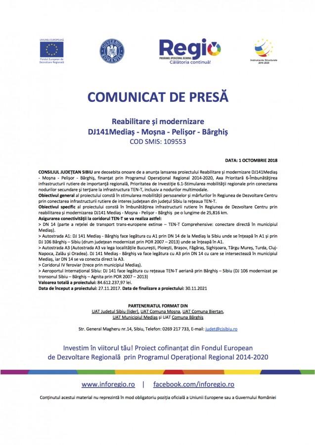 Comunicat de presă. Reabilitare și modernizare DJ141 Mediaș - Moșna - Pelișor - Bârghiș (P)