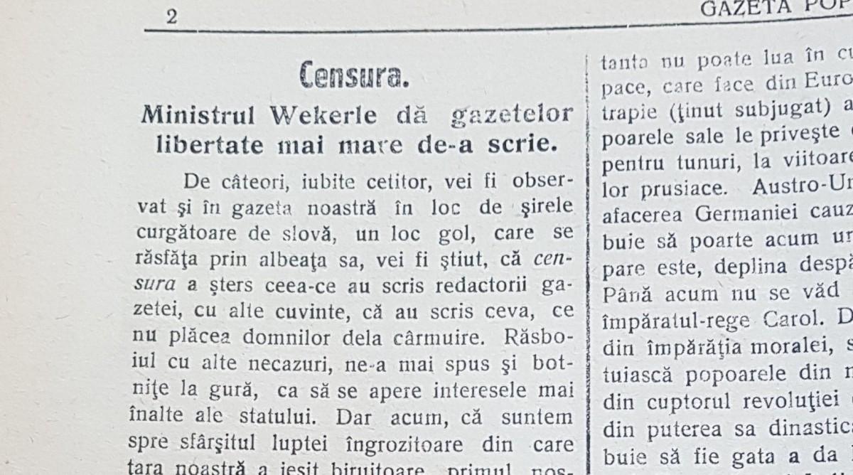 100. Sibiul Marii Uniri. Ziarele nu mai sunt cenzurate, cu o excepție