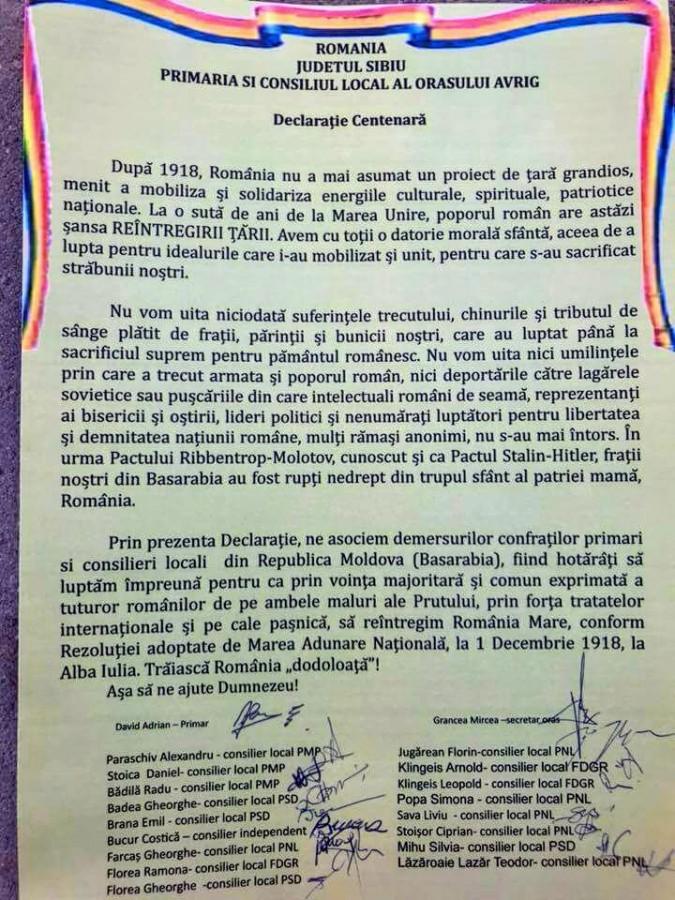 Avrigul a semnat Declarația de Unire cu Moldova