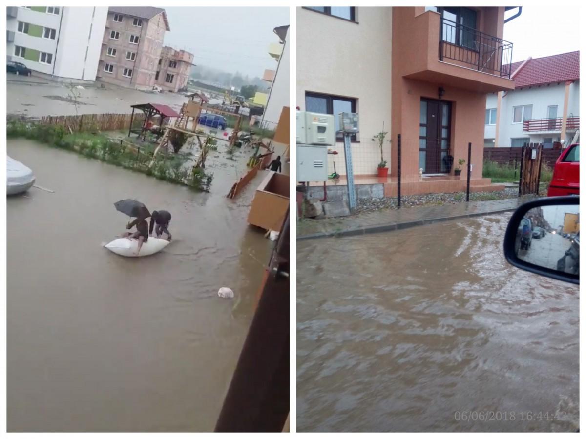 VIDEO Cartierul Arhitecților: au ieșit cu pluta la plimbare pe străzile inundate