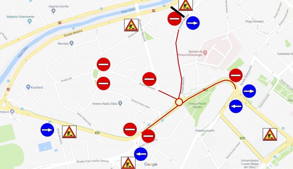 Patru străzi din centrul Sibiului, închise pentru asfaltarea sensului giratoriu de pe str. Alba Iulia