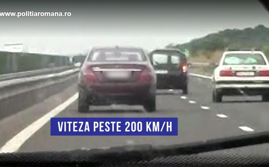 Şofer prins cu 225 de kilometri la oră, A3. Alți 12 au rămas fără permis, tot pentru viteză   Video
