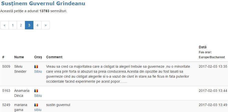 Petiție pentru susținerea Guvernului Grideanu: peste 100 de sibieni au semnat