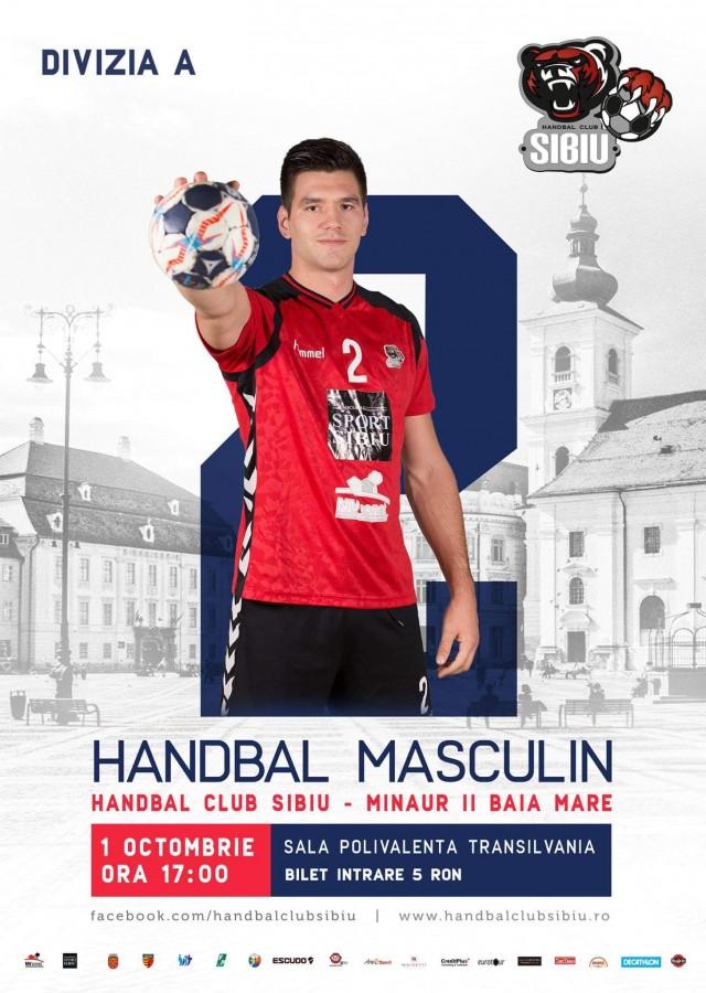 Handbal Club Sibiu joacă în această după-masă, acasă, cu Minaur II Baia Mare