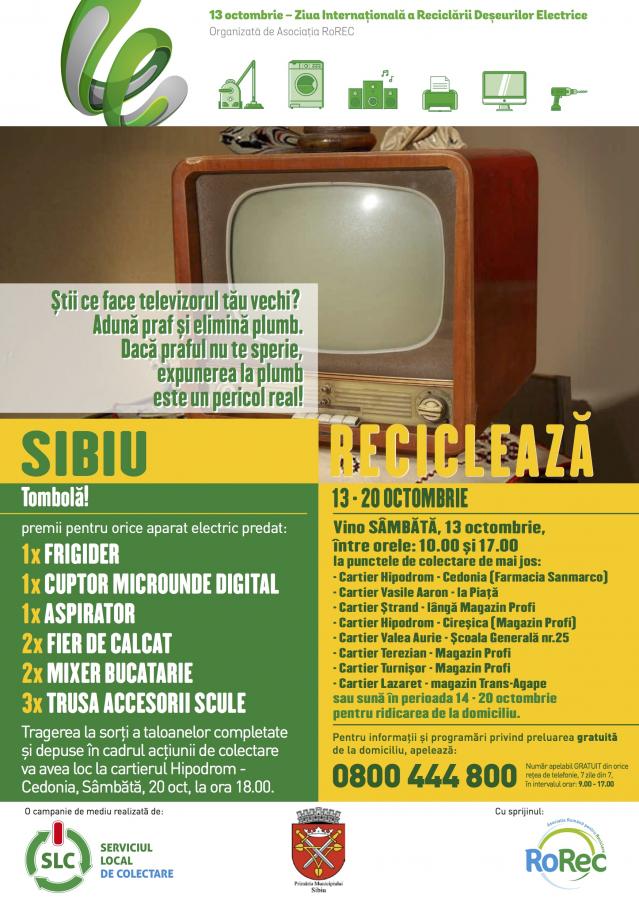 Aveți electronice de aruncat? Sâmbătă vor fi ridicate gratuit din opt puncte ale Sibiului sau de acasă