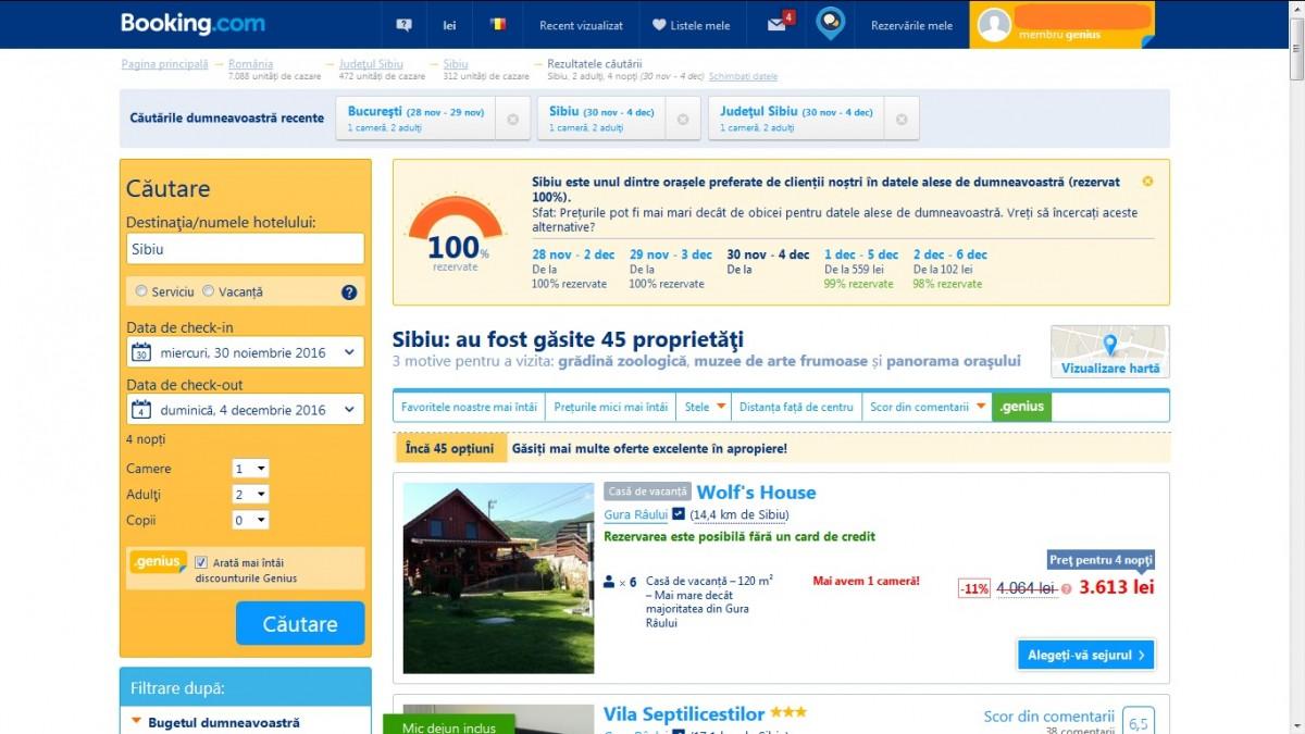 Booking.com: Sibiul este ocupat 100% în vacanța de 1 decembrie