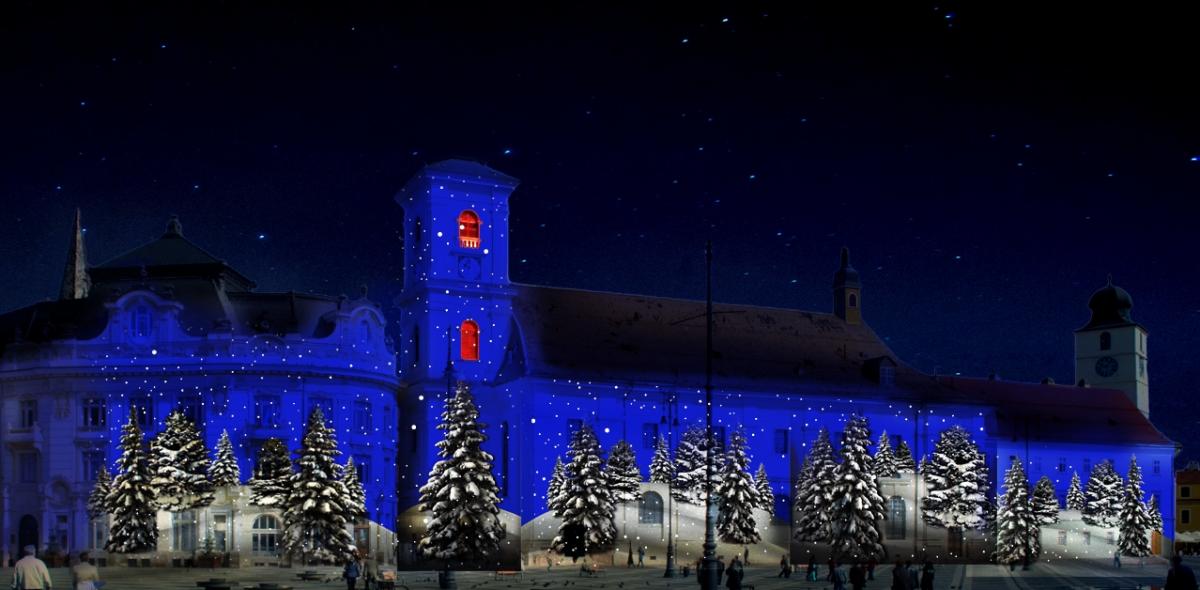 Proiecție pe clădirile din Piața Mare, la Târgul de Crăciun