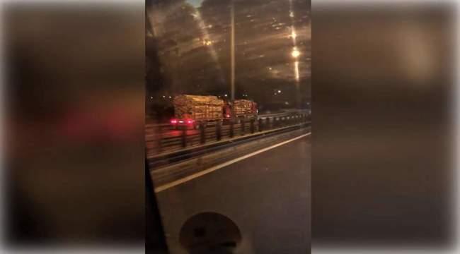 VIDEO-Camion cu remorcă filmat pe contrasens pe autostrada Sibiu-Deva