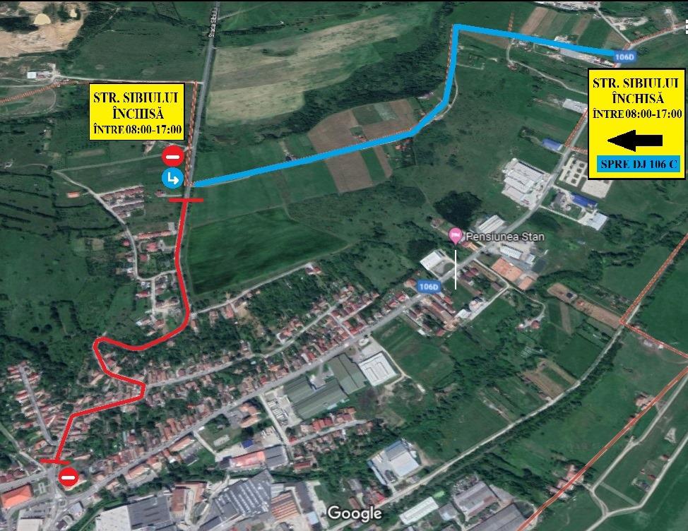 Accesul în Cisnădie dinspre Sibiu, redirecționat timp de o săptămână