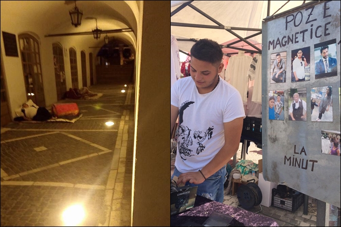 Târgul romilor: Noaptea dorm pe jos, în Casa Artelor, ziua vând blide și poze la minut