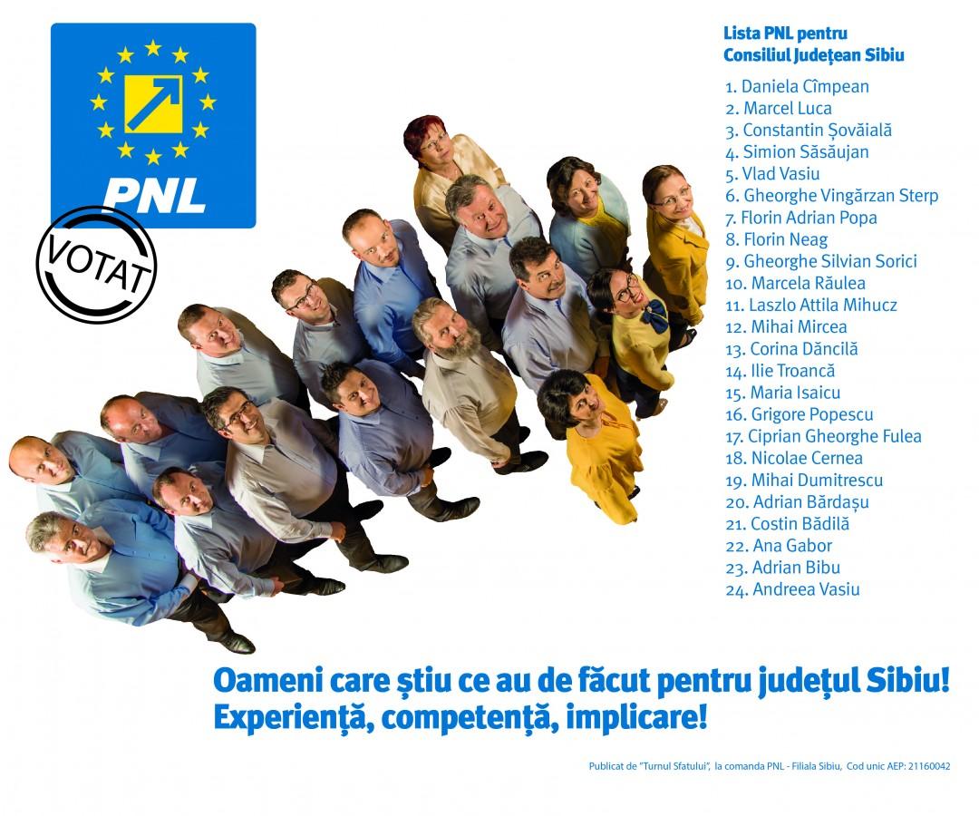 Oameni care știu ce au de făcut pentru județul Sibiu! Lista PNL pentru CJ Sibiu