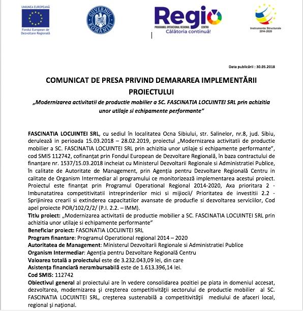 """""""Modernizarea activitatii de productie mobilier a SC FASCINATIA LOCUINTEI SRL prin achizitia unor utilaje si echipamente performante"""" (CP)"""