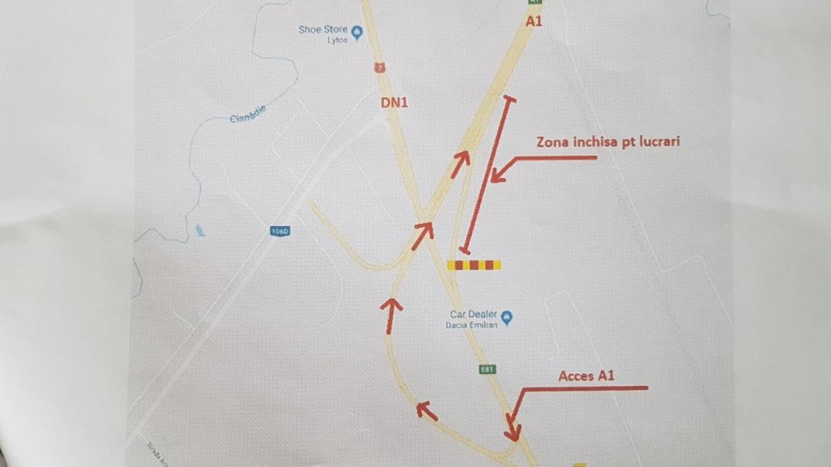 Restricții de circulație pe breteaua de urcare pe A1, la Mohu