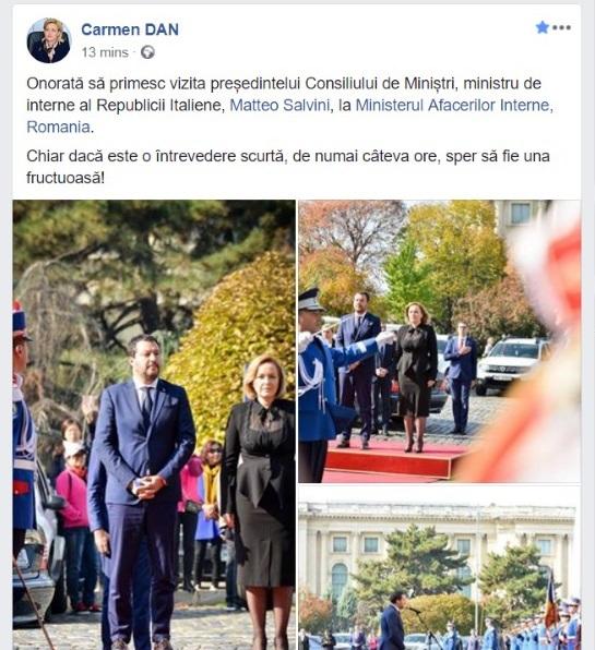 Gafă a ministrului de Interne, Carmen Dan. A încurcat funcțiile ministrului Matteo Salvini