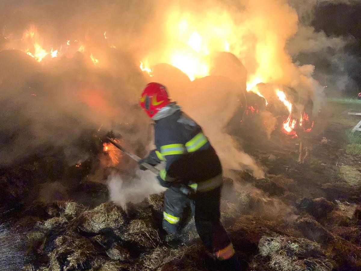 FOTO Incendiu la o fermă din lunca Sevișului. Au ars aproximativ15 tone de fân, animalele au fost salvate